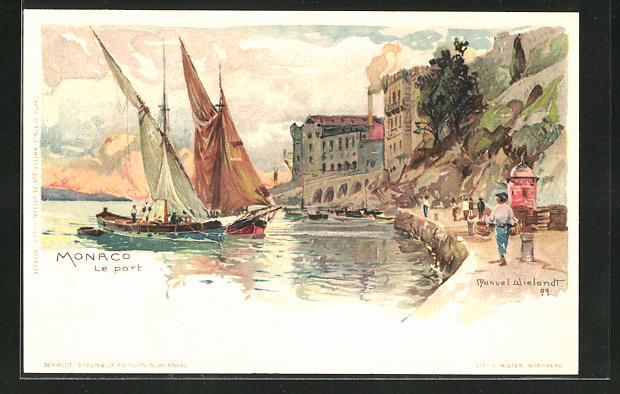 Künstler-AK Manuel Wielandt: Monaco, Segelschiffe im Hafen