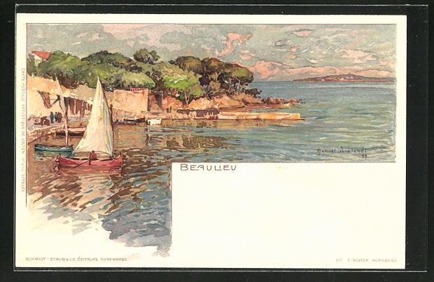 Künstler-AK Manuel Wielandt: Beaulieu, Partie im Hafen