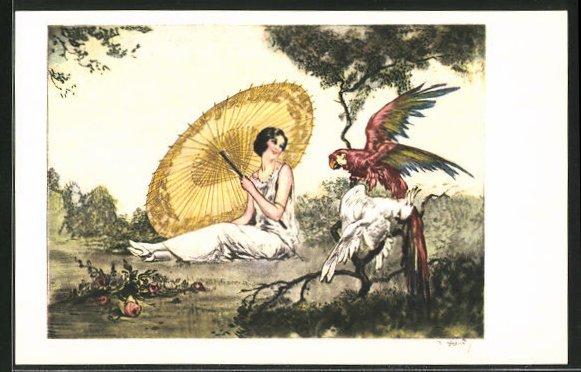 Künstler-AK J. Hardy: Edeldame beobachtet Papagei & Kakadu
