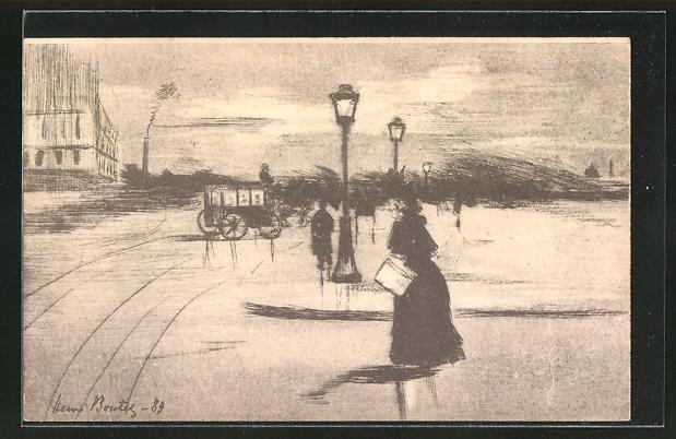 Künstler-AK Henri Boutet: Dame spaziert bei Sturm durch eine Stadt