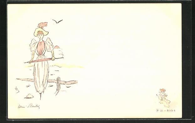 Künstler-AK Henri Boutet: junge Dame mit Schirm beim Spaziergang