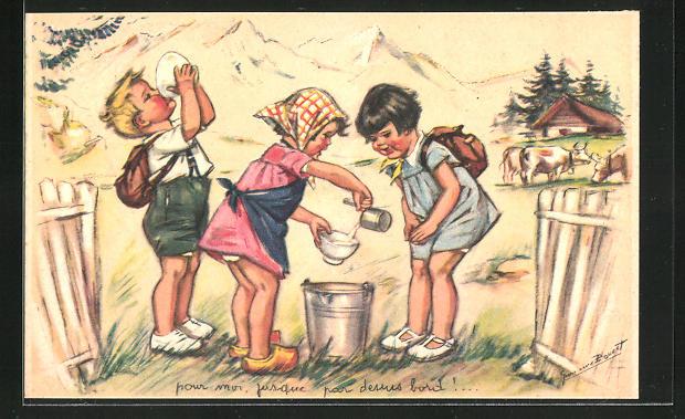 Künstler-AK Germaine Bouret: Kinder trinken frische Milch