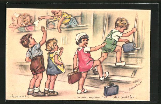 Künstler-AK Germaine Bouret: Kinder steigen in einen Zug