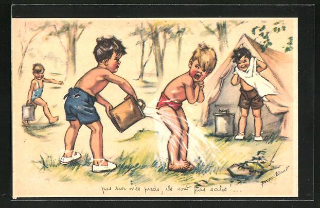 Künstler-AK Germaine Bouret: Kinder bei einer Wasserschlacht im Zeltlager