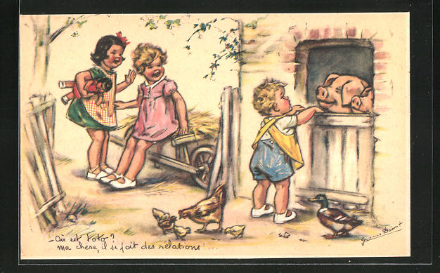 Künstler-AK Germaine Bouret: Kinder auf einem Bauernhof, Schweine & Hühner