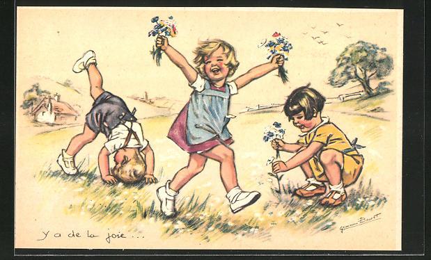 Künstler-AK Germaine Bouret: Kinder Pflücken Wildblumen