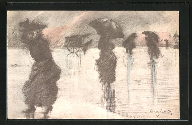 Künstler-AK Henri Boutet: Silhouette Damen mit Schirm im Sturm