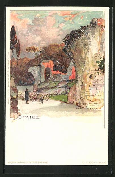 Künstler-AK Manuel Wielandt: Cimiez, Schafhirte am Ortseingang