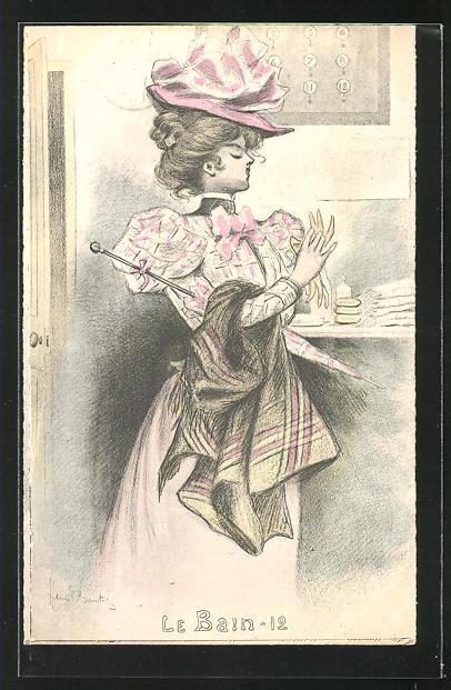 Künstler-AK Henri Boutet: Le Bain-12, hübsche Dame im Kleid mit Hut und Schirm