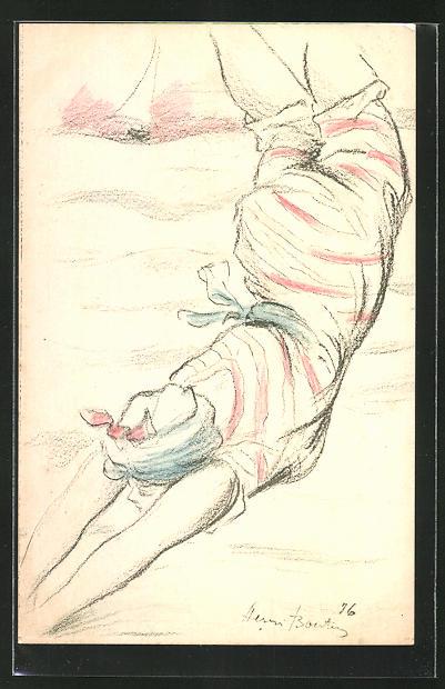 Künstler-AK Henri Boutet: hübsche Dame mit Kopftuch in Badebekleidung