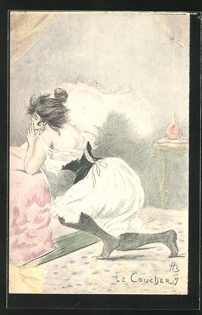 Künstler-AK Henri Boutet: Le Coucher-7, hübsche Dame kniet am Bett