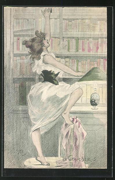 Künstler-AK Henri Boutet: Le Coucher-5, hübsche Dame greift am Regal nach einem Buch