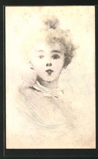 Künstler-AK Henri Boutet: schöne Dame im Portrait