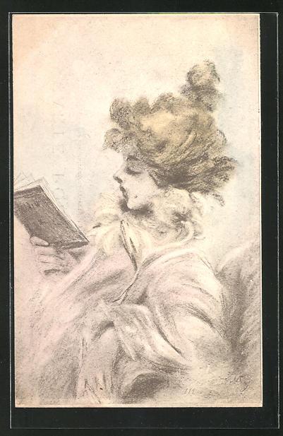 Künstler-AK Henri Boutet: schöne Frau liest in einem Buch
