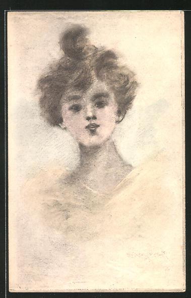 Künstler-AK Henri Boutet: hübsche Dame im Portrait