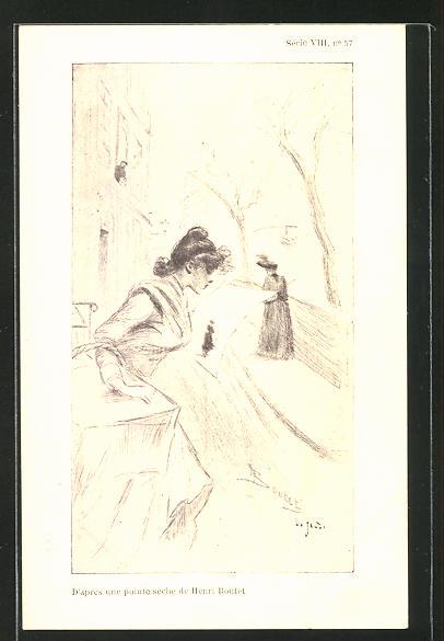 Künstler-AK Henri Boutet: D'apres une pointe deche, Dame liest in einer Zeitung