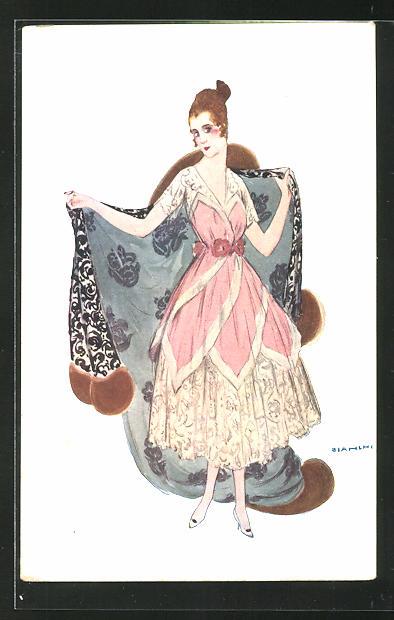 Künstler-AK Bianchi: Junge Frau in schönem Kleid