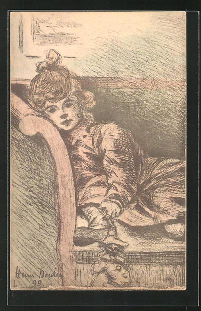 Künstler-AK Henri Boutet: Junge Frau liegt auf einem Sofa