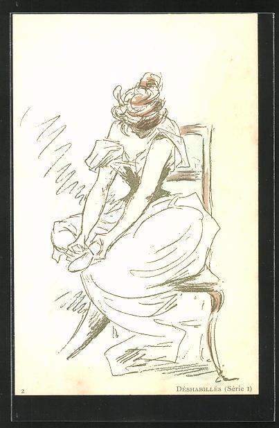 Künstler-AK Henri Boutet: Frau beim Anziehen ihrer Schuhe