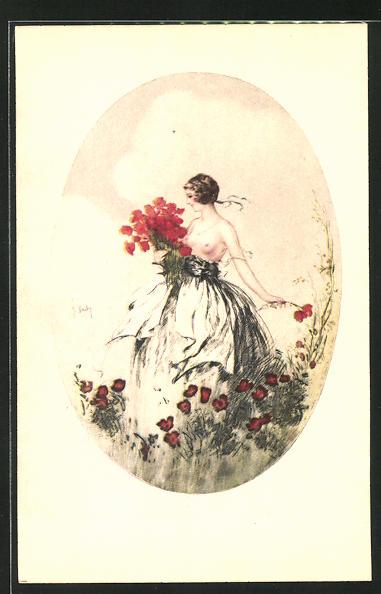 93957d6f828dae Künstler-AK J. Hardy: Frau mit entblösster Brust, pflückt Blumen Nr ...