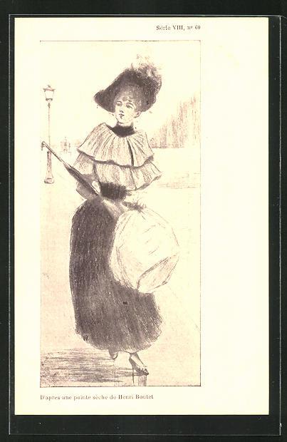 Künstler-AK Henri Boutet: Frau mit Hut und Schirm