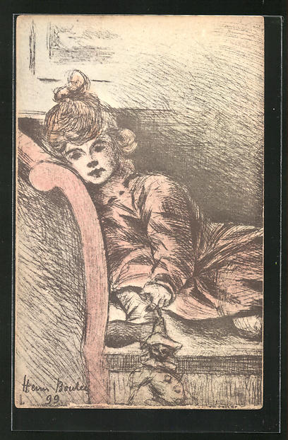 Künstler-AK Henri Boutet: Mädchen auf einem Sofa