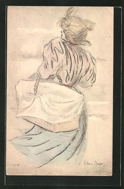 Künstler-AK Henri Boutet: Junge Frau mit Korb