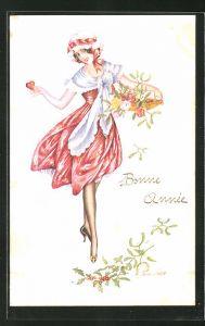 Künstler-AK Xavier Sager: Junge Frau mit einem Korb schöner Blumen