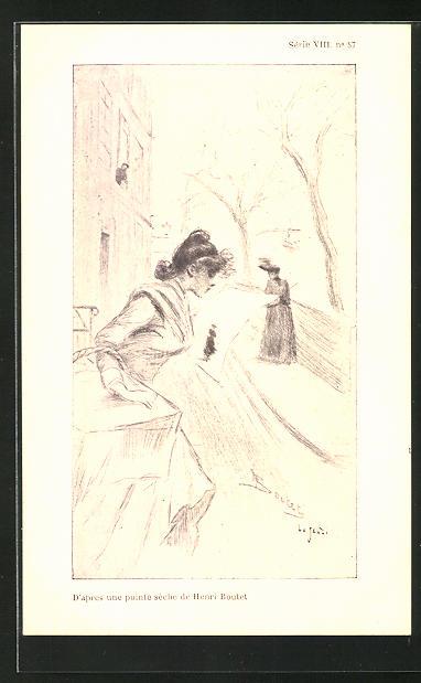 Künstler-AK Henri Boutet: Junge Frau liest Zeitung