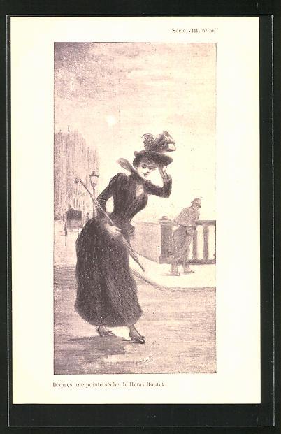 Künstler-AK Henri Boutet: Junge Frau mit Schirm