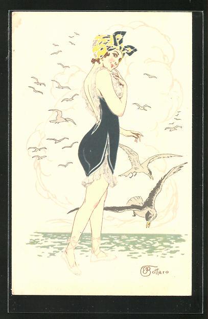 Künstler-AK E. Bottaro: Junge Frau am Meer spazierengehend, Art Deco