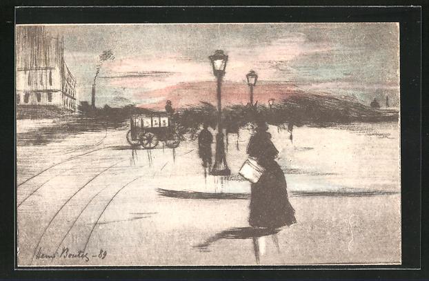 Künstler-AK Henri Boutet: Leute in den Strassen der Stadt