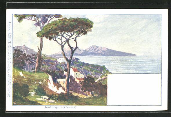 Künstler-AK Philipp + Kramer Nr. XXIII /1: Sorrent, Blick zur Insel Capri