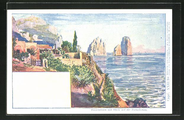 Künstler-AK Philipp + Kramer Nr. XXIII /10: Capri, Bauernhaus mit Blick auf Faraglioni