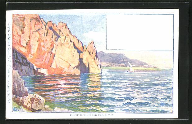 Künstler-AK Philipp + Kramer Nr. XXIII /5: Capri, Felsabsturz bei den Faraglioni