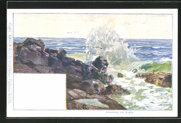 Künstler-AK Philipp + Kramer Nr. XXIII /3: Capri, Brandung an der Felsküste
