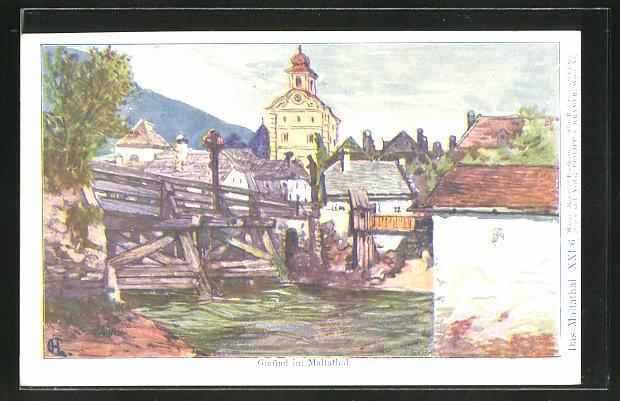Künstler-AK Philipp + Kramer Nr. XXI /6: Gmünd i. Maltathal, Teilansicht mit Brücke