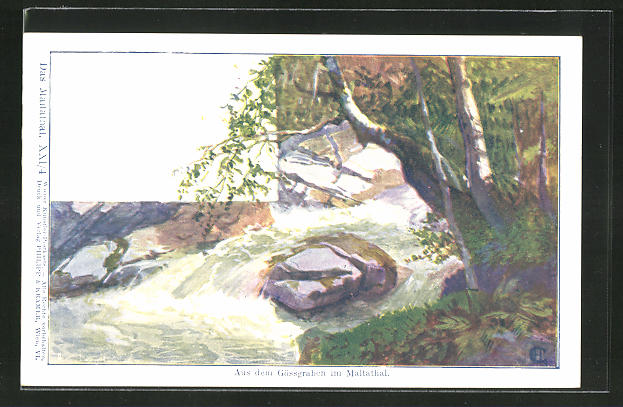 Künstler-AK Philipp + Kramer Nr. XXI /4: Gössgraben im Maltathal