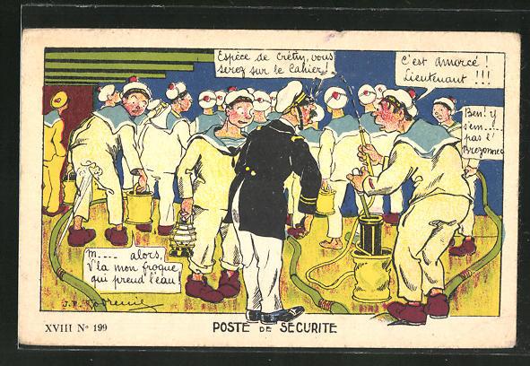 Künstler-AK Henri Gervèse: Matrosen bei der Arbeit an Bord igres Schiffes