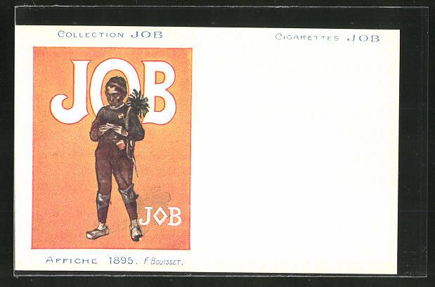 AK Collection JOB, Affiche 1895, Schornsteinfeger dreht sich eine Zigarette, Jugendstil