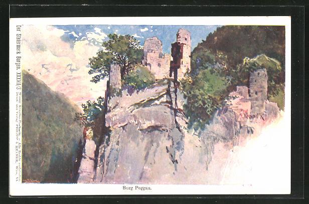 Künstler-AK Franz Kopallik: Burg Peggau in der Steiermark