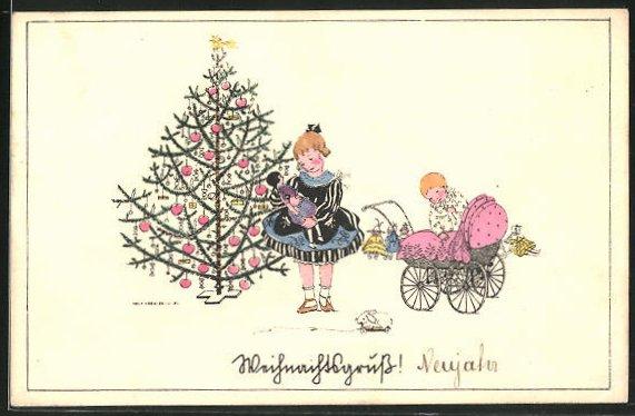 Künstler-AK Mela Köhler: Kinder mit Puppe & Puppenwagen neben Weihnachtsbaum stehend