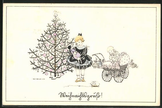 Künstler-AK Mela Köhler: Weihnachten, Kinder mit Puppenwagen & Puppe
