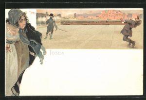 Künstler-AK Leopoldo Metlicovitz: Tosca, Mann wird standrechtlich erschossen