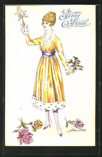 Künstler-AK Xavier Sager: junge Frau im gelben Kleid, Neujahrsgruss