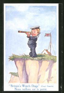 Künstler-AK T. Gilson: Britain's Watch Dogs, kleiner englischer Matrose mit Fernrohr an der Klippe