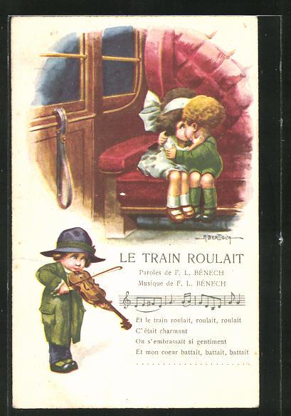 Künstler-AK A. Bertiglia: Le train roulait, Liebespaar küsst sich im Abteil, Violinenspieler
