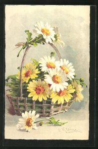 Künstler-AK Catharina Klein: weisse und gelbe Blumen im Korb