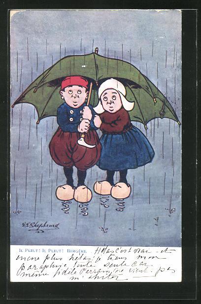 Künstler-AK George Edward Shepheard: Il Pleut, Mann und Frau unterm Regenschirm