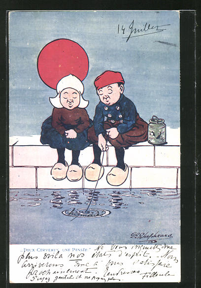 Künstler-AK George Edward Shepheard: Deux cerveaux, une Pensée, Mann und Frau angeln